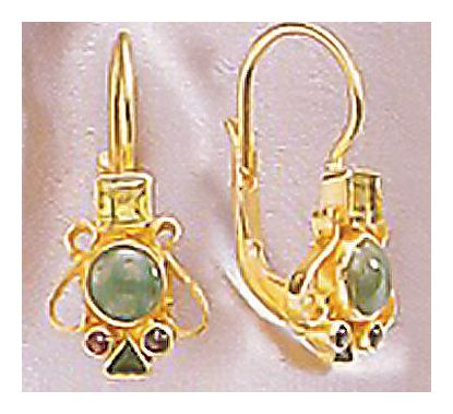 Madrigal Emerald, Peridot, & Garnet Earrings