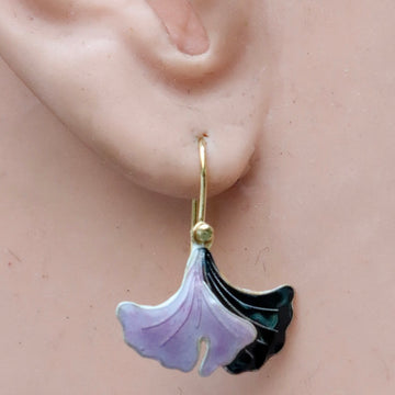 Vintage Shashi Gingko Leaf Purple Gold-Vermeil Earrings