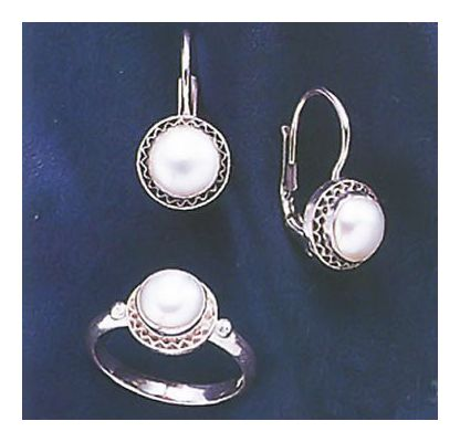 Set of Pearl Twilight Earrings & Ring