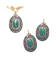 Set of Siena Malachite Earrings and Pendant