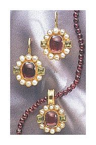 Set of Queen Elinor Garnet, Peridot and Pearl Earrings &