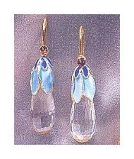 Crystal Pear Earrings-Screw Backs