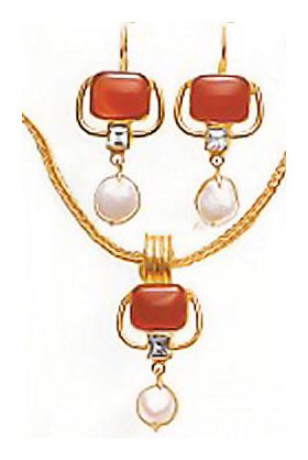 Set of Kew Gardens Carnelian, Blue Topaz, & Pearl Earrings &