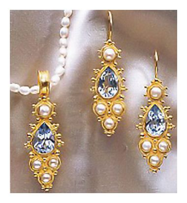 Set of Midsummer's Ball Earrings & Necklace in Blue Topaz