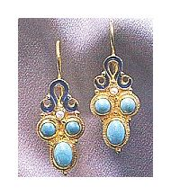 Blue Latitudes Turquoise & Prl Earrings