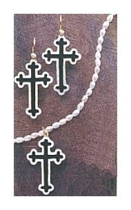 Set of Santa Lucia Cross Earrings and Necklace