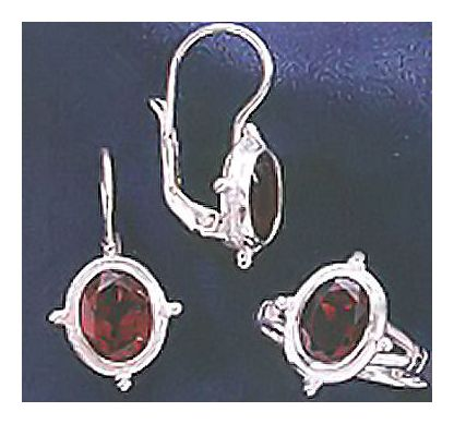 Set of Grosvenor Garnet Earrings & Ring