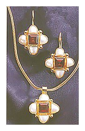 Set of Mona Lisa Pearl & Garnet Earrings & Necklace