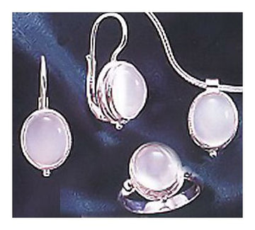 Set of Silver Moonstone Earrings, Ring and Necklace