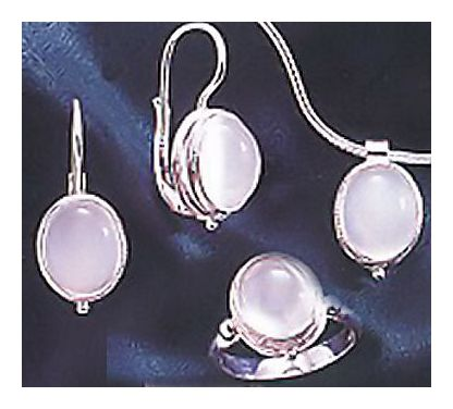 Set of Silver Moonstone Earrings, Ring, & Necklace