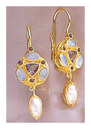 Lady Anne Opal, Garnet, Iolite, & Pearl Earrings