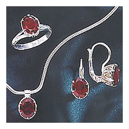 Set of Geraldine Garnet Earrings, Ring, & Necklace