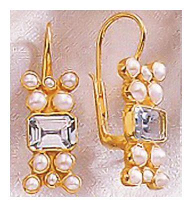 Salon Blue Topaz & Cultured Pearl Earrings
