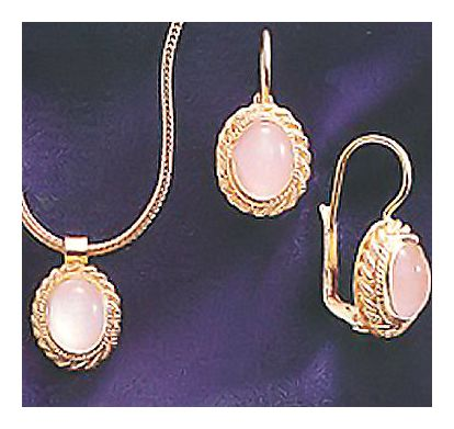Set of Vita Moonstone Earrings and Necklace