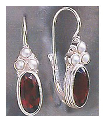 Windsor Garnet and Pearl Silver Earrings