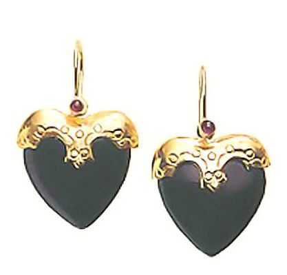 Little Nell Onyx Heart Earrings