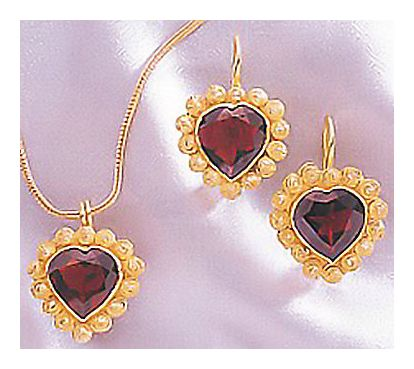 Set of L'amour Garnet Earrings and Necklace