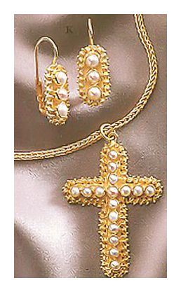 Set of Salisbury Pearl Cross Earrings and Necklace