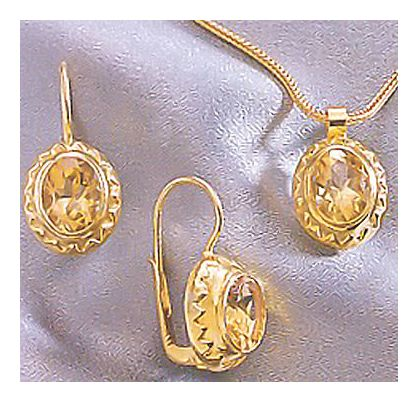 Set of Lady Jane Citrine Earrings & Necklace