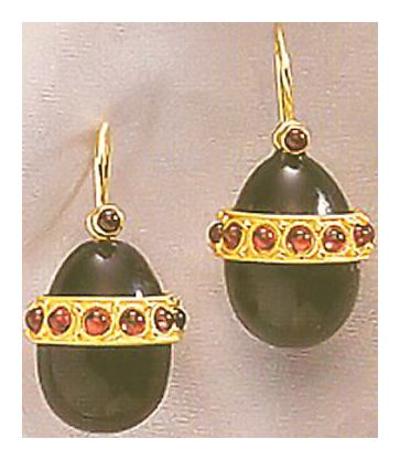 The Cherry Orchard Onyx and Garnet Earrings