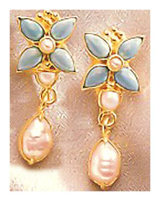 Fashion Turquoise & Pearl Earrings