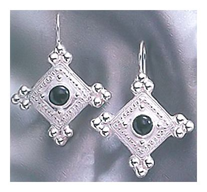 Onyx Silver Shield Earrings