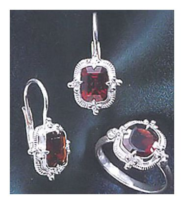 Set of Augusta Garnet Earrings & Ring
