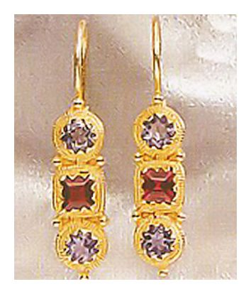 Thira Iolite & Garnet Earrings