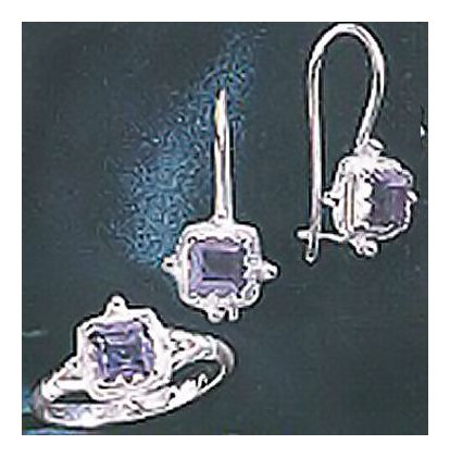 Set of Thessaly Silver Iolite Earrings and Ring