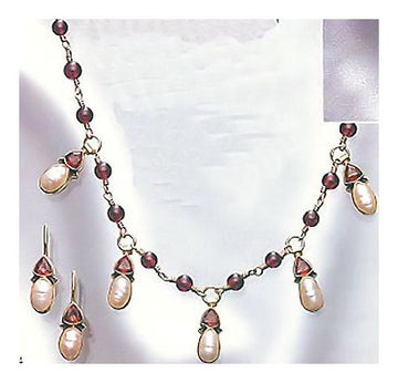 Set of Oxford Garnet and Pearl Earrings and Necklace