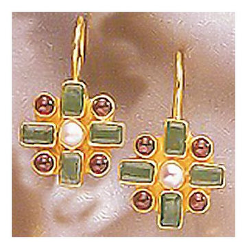 Chamber Emerald and Garnet Earrings