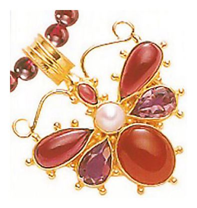 May Meadows Carnelian, Amethyst, Garnet, & Pearl Necklace