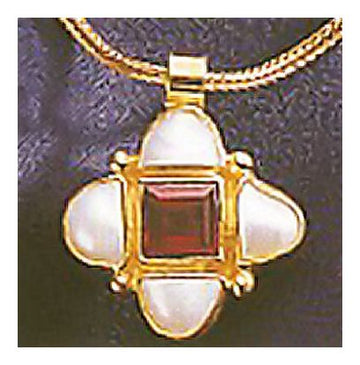 Mona Lisa Pearl and Garnet Necklace