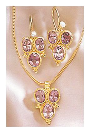 Set of Dorothea Brooke Amethyst Earrings and Necklace
