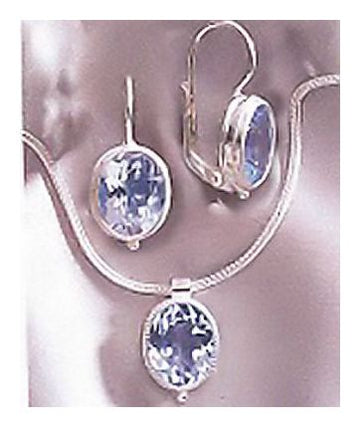 Set of Moonlight Blue Topaz Earrings and Necklace
