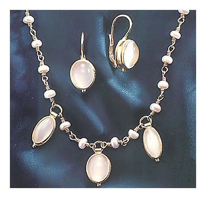 Set of Voyager Moonstone Earrings & Necklace