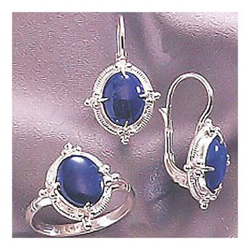 Set of Lapis Empress Earrings and Ring