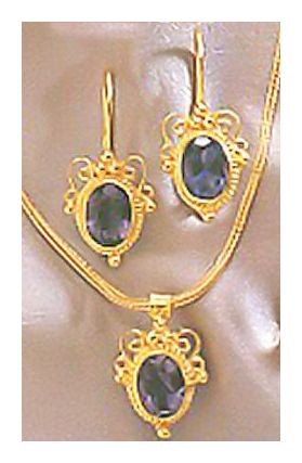 Set of Lady Chatterly Iolite Earrings & Necklace