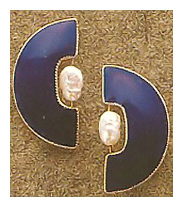 Half Moon Blue Enamel Earrings
