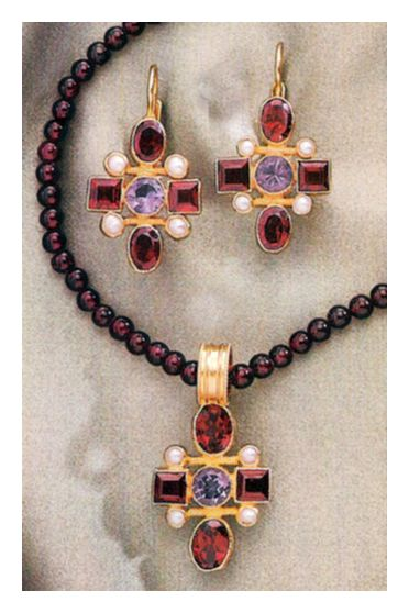 Set of Venetian Cross Garnet Earrings and Necklace