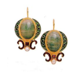 Medici Aventurine Renaissance Earrings Unique handmade Jewelry online
