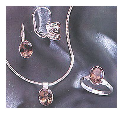 Set of Geraldine Smoky Topaz Earrings, Ring, & Necklace