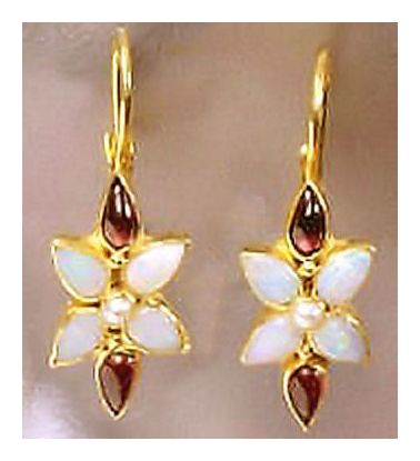 Mary Crawford Opal, Garnet, & Pearl Earrings