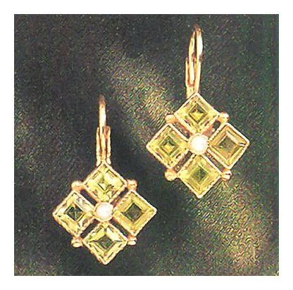 Isadora Peridot and Pearl Earrings