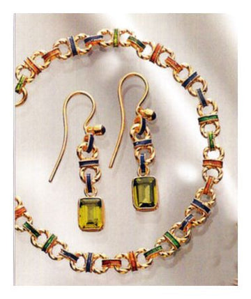 Set of Monterosso Peridot Ensemble Earrings, Necklace, Bracelet