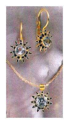Set of Blue Firmament Earrings and Necklace