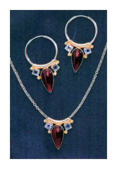 Set of Camelot Carneian & Blue Topaz Earrings & Necklace