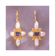 Iolite & Cultured Pearl Parlor Earrings