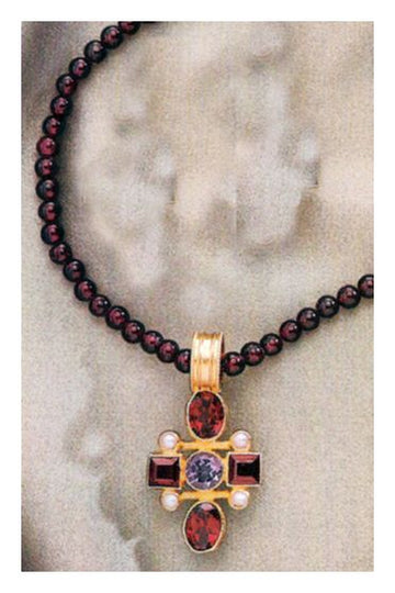 Venetian Cross Garnet Necklace