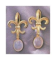 Fleur-De-Lys Moonstone Earrings